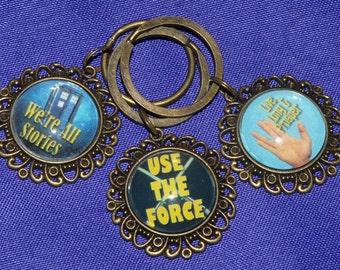 Keychain or Zipper Pull -Star Trek, Star Wars, Doctor Who