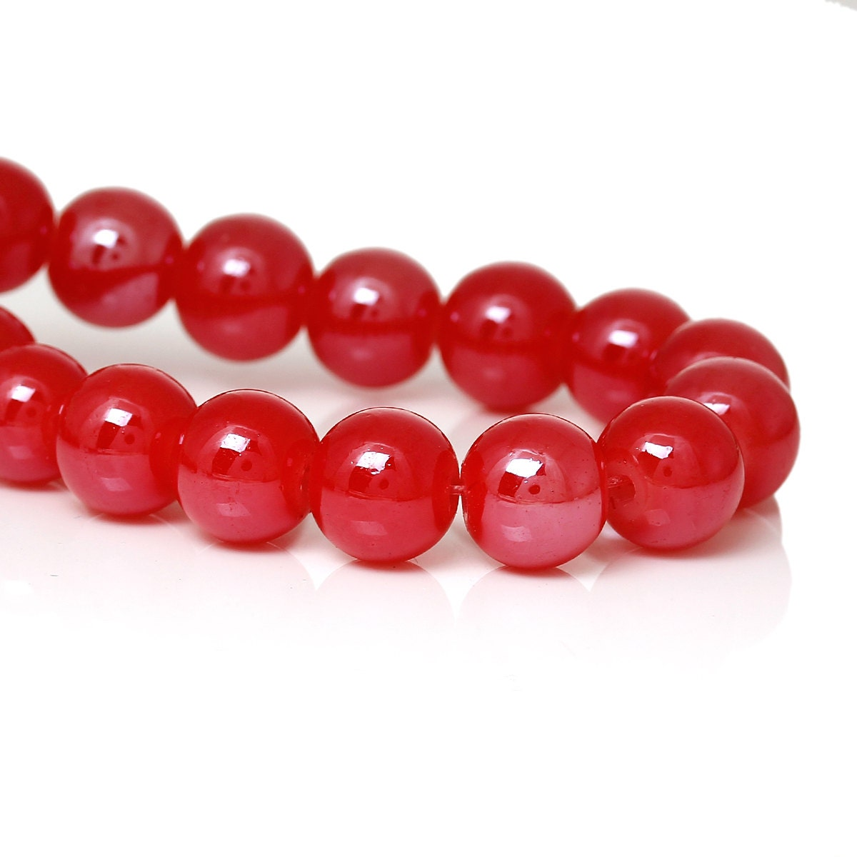 Red Ruby Beads: 50 Glass Beads 8mm Ruby Red BD760