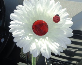 VW Beetle Flower -White and Red Bling Daisy