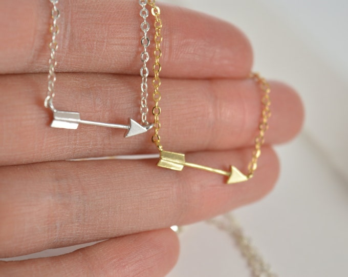 Arrow Charm Necklace, Gold or Silver, Short Dainty Delicate Arrow Necklace Archery Necklace, Horizontal Sideways Personalized Arrow Necklace
