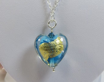 Turquoise w 24kt Goldfoil Murano Heart Necklace, Murano Venetian Heart, Aqua Turquoise Gold Murano Heart Necklace w 925 Sterling & Swarovski