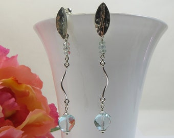 Aquamarine Hearts Earrings with 925 Sterling Silver, Long Shining Aquamarine Gemstone Faceted Hearts Earrings with 925 Sterling Silver