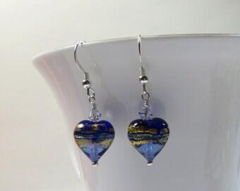 Murano Sapphire Blue Goldfoil Heart Earrings, Graduated Colour Venetian Murano Heart Earrings w 24kt Gold Foil, Sterling Silver & Swarovski