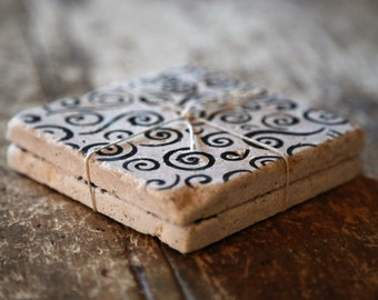 Black Swirl Pattern Coasters Set of 2 - Natural Tumbled Marble, Hand Painted Home Decor