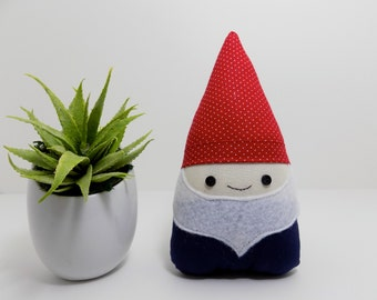 Gnome plushie in red and navy, gnome decor, woodland decor for home or nursery, garden gnome