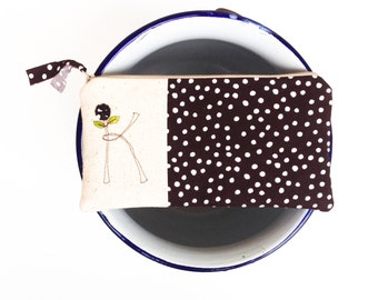 Monogram Zipper Pouch, Personalized Gift for Her, Clutch with Initial, Brown and White Polkadots, Letter K, Gifts under 50, READY TO SHIP