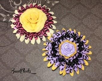 Rose Centered Franken Flower Hair Clip ~ Rockabilly & Pinup Accessory
