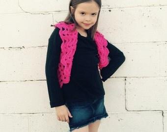 Girls  Pink Bolero Fits size 4T to 8x, Girls Shrug- Crochet Shrug-Crochet Bolero