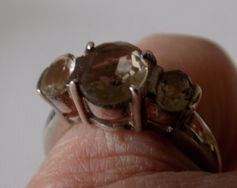 Vintage ring,size 6 faceted smokey quartz and sterling silver statement ring,jewelry