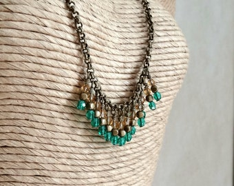 Green Fringe Necklace, Brass Chain, Beaded Fringe Necklace, Emerald Green and Colorado Topaz Necklace