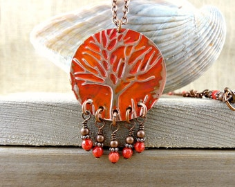 Tree of Life Pendant Necklace, Red Coral Copper Necklace, Painted Artisan Pendant, Embossed Copper Jewelry