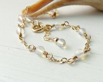 Opalite Moonstone Anklet, Gold Ankle Bracelet, Dainty Gold Anklet, Summer Fashion Jewelry