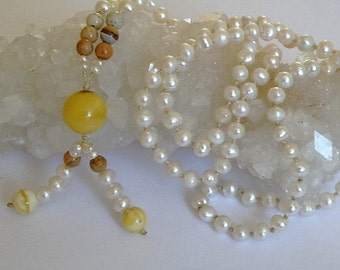 Baltic Amber 108 bead gemstone necklace with white Freshwater Pearls and sand colored Jasper beads - knotted - tassel - Tribal jewelry