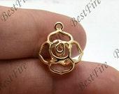 24K Gold filled Brass Charm Flower Pendant Findings,necklace Findings,Jewelry findings,bracelet findings,earrings findings