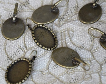 10pcs Antique Brass Lever Back Ear Wire Oval Bezel Setting,French Earwires Hook With oval  (Inside Diameter 18x25mm Pad)