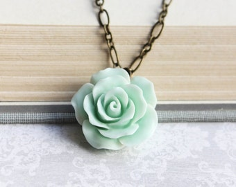 Mint Rose Necklace Floral Accessories Flower Jewelry Mint Green Wedding Bridesmaids Gift Seafoam Rose Romantic Bridal Jewelry Mother Day