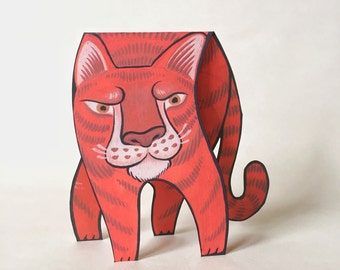 Ginger Tiger Animated Greeting Card / Paper Craft Toy