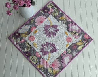 Easter Spring Quilted Table Topper Square Quilt Appliqued Flowers Lavender and Yellow Heavily Quilted