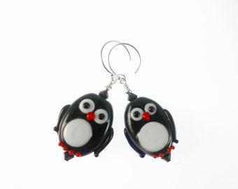 Penguin Earrings, Black White Lampwork Earrings, Christmas Earrings, Glass Bead Earrings, Lampwork Jewelry, Christmas Jewelry