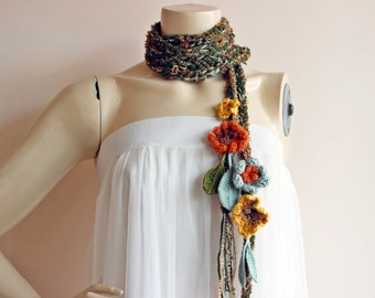 Green Crochet Scarf-Lariat Necklace Scarf- Olive Green Mustard Orange Scarf-Flowers and Leaves Scarf-Hippie Scarf