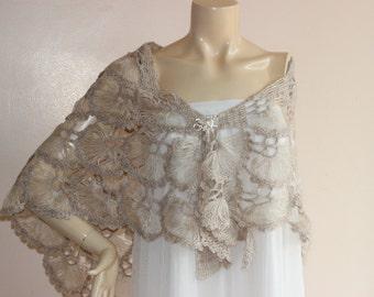 Stone Bridal Shawl/Winter Wedding, Crochet Shawl,Bridal Cover Up,Wedding Shawl-Lace Mohair Shawl-Triangle Shawl-Lace Shawl-Lace Winter Shawl