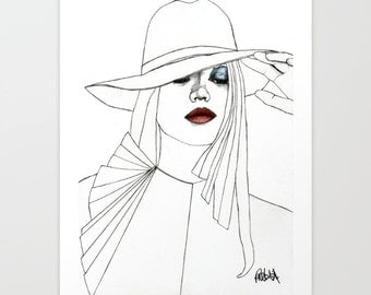 Blue Eyeshadow - Original Drawing Art  Illustration  Fashion  Portrait  Woman Girl Pencil by Paul Nelson-Esch Free Worlwide Shipping
