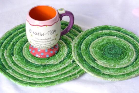 Spring Green Trivets, 2 Handmade Hot Pads, 2 Meadow Green Trivets, Pantone Greenery Decoration, Modern Green Decorations