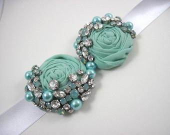 Mint bridal sash - mint wedding - mint blue - crystal sash - maternity sash - wedding accessories
