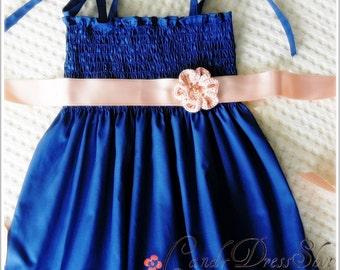 Navy blue dress for girls, Baby navy blue dress, Girls dark blue dress, Navy flower girl dress, Girls navy party dress, Blue frilly dress