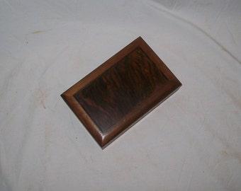 Walnut stash box with Fancy Walnut inlayed top bordered by Wenge handmade Desk Box ,Jewelry Box,Trinket Box,Small Wooden Box