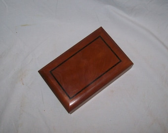 Cherry stash box with Fancy Cherry inlayed top bordered by Wenge handmade Desk Box ,Jewelry Box,Trinket Box,Small Wooden Box