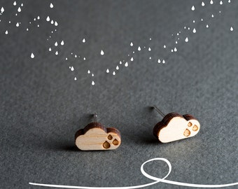 Rain Cloud Earrings, Rain Drop Earrings, Small Stud Earrings Wood