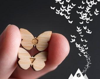 Butterfly Stud Earrings, Wood Geometric Earrings, Hypoallergenic Studs, Boho Stud Earrings, Gypsy Jewelry