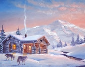 Wolves cabin painting by RUSTY RUST wolf wildlife animal 24x36 oils on canvas / W-66