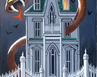 Haunted House snake Halloween 36x24 (91.4 x 61 cm) oils on canvas by RUSTY RUST / S-130