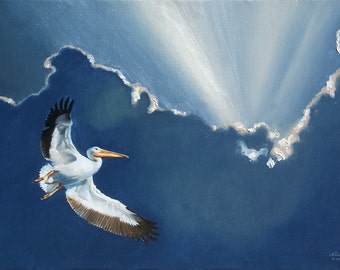 White Pelican painting by RUSTY RUST wildlife bird 24x36 oils on canvas / P-65