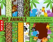 Sale! Zoo Animal Digital Papers, Safari Jungle Animals Scrapbook Paper and Backgrounds - Commercial and Personal Use