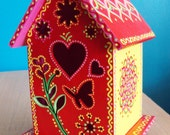 Red andYellow and Pink Birdhouse/Handpainted/Floral Designs/Doodles and Dots/Heart and Butterfly Design/Shelf or Patio Decor