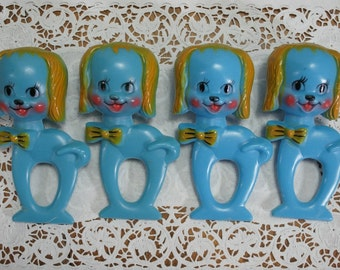 Vintage Blue Baby Rattles, great shower decor, napkin rings