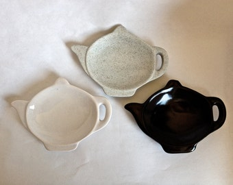 Teapot Teabag Holders Teaspoon Holder Choice of 2 Colors Black or White