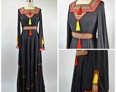 ON SALE Vintage 1960s 1970s Ethnic Hippie Dress Size Small Black Red and Yellow Trim and Tassels Angel Wing Sleeves Great Festival Dress