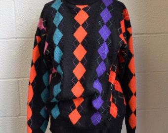 Argyle Cashmere Sweater 1970s Pullover Turtleneck Black with Bold Colors Purple and Pink Orange and Teal Super Soft and Warm Size Medium