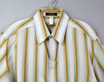 Vintage Versace Shirt Mens Button Down Shirt White and Gold and Blue Stripe Cotton Shirt Long Sleeve Size 54 Large