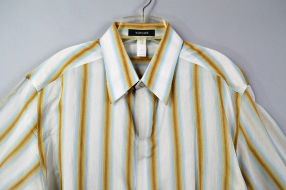 Vintage versace shirt mens button down shirt white and gold for Blue and white versace shirt
