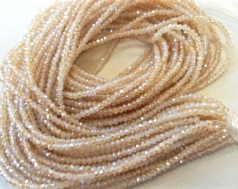 "TWO 16"" STRANDS tiny Frosted Cream with Peach Champagne Accents, semi-Opaque Faceted Crystal Beads, 3mm x 2mm, 200 beads each strand"