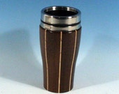 Madagascar Rosewood with Hickory Accents Wooden Travel Mug With Stainless Steal Interior