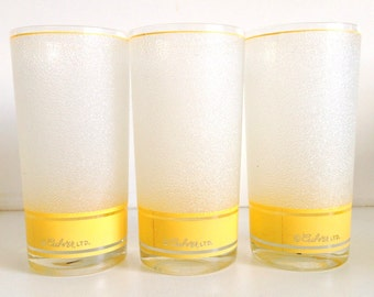 Culver Ltd. Yellow Band Frosted Crackle Glasses