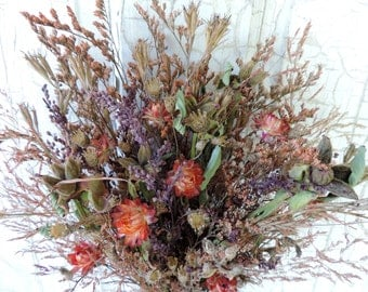 Dried Flower Bouquet Floral Arrangement Meadow Grass Strawflowers Pods Dyed Grasses Natural Woodland Autumn Everlasting Free Lavender Sachet