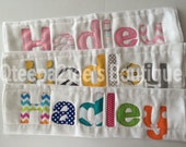 Set of 3 Personalized burp cloths....You pick fabric and Style....Boy and Girl styles Available.