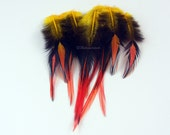 Decorative Feathers Art Feather for Crafts Yellow Bright Orange Colorblock Yellow Orange Craft Feathers Home Decorating Floral etc 12PCS
